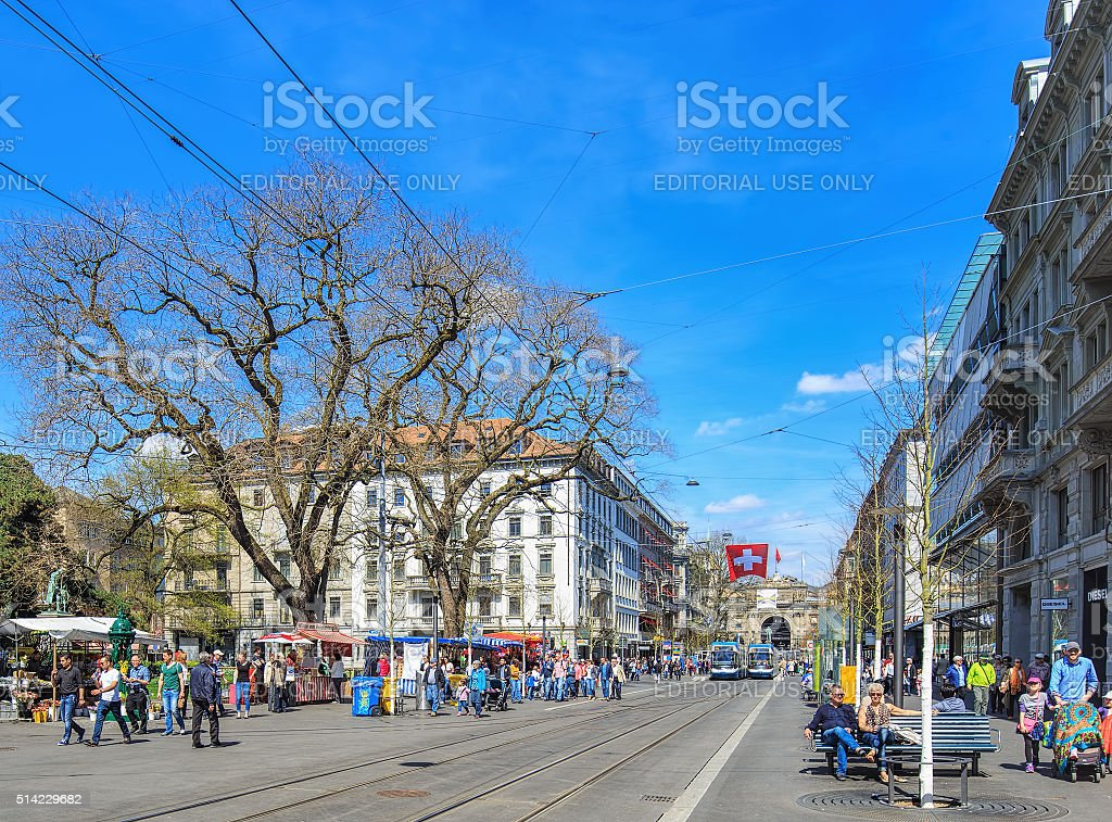 View along the Bahnhofstrasse street in Zurich stock photo