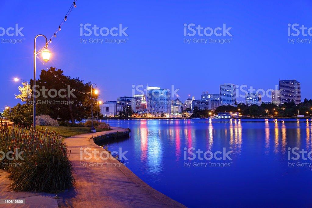 View along the banks of Lake Merritt in Oakland stock photo