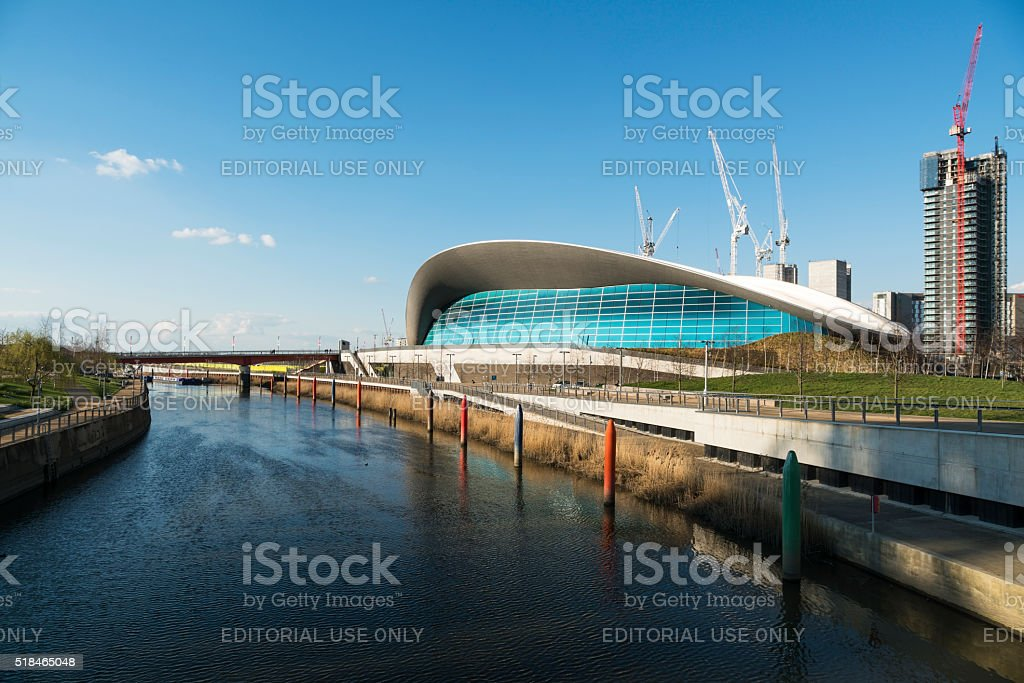 View Along The Canal Showing London Olympic Aquatics Centre stock photo