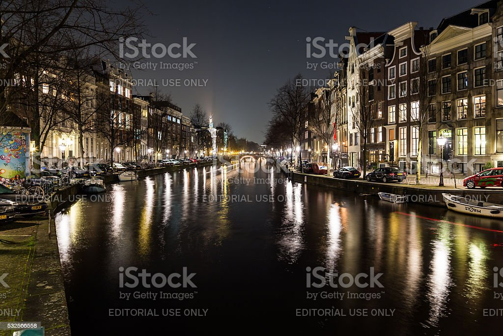 View along the Keizersgracht canal in Amsterdam stock photo
