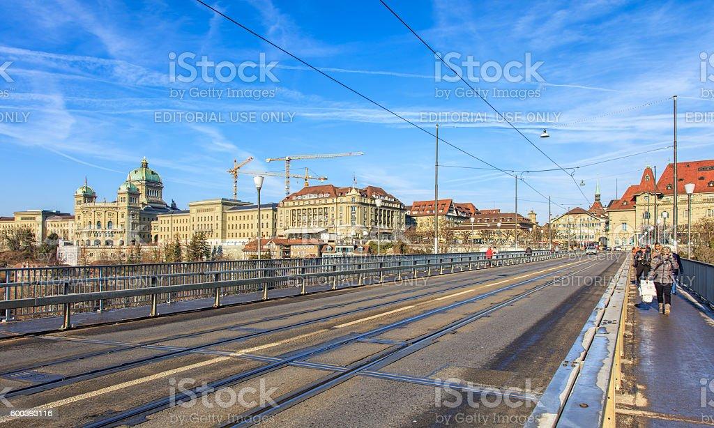 View along the Kirchenfeld bridge in Bern, Switzerland stock photo