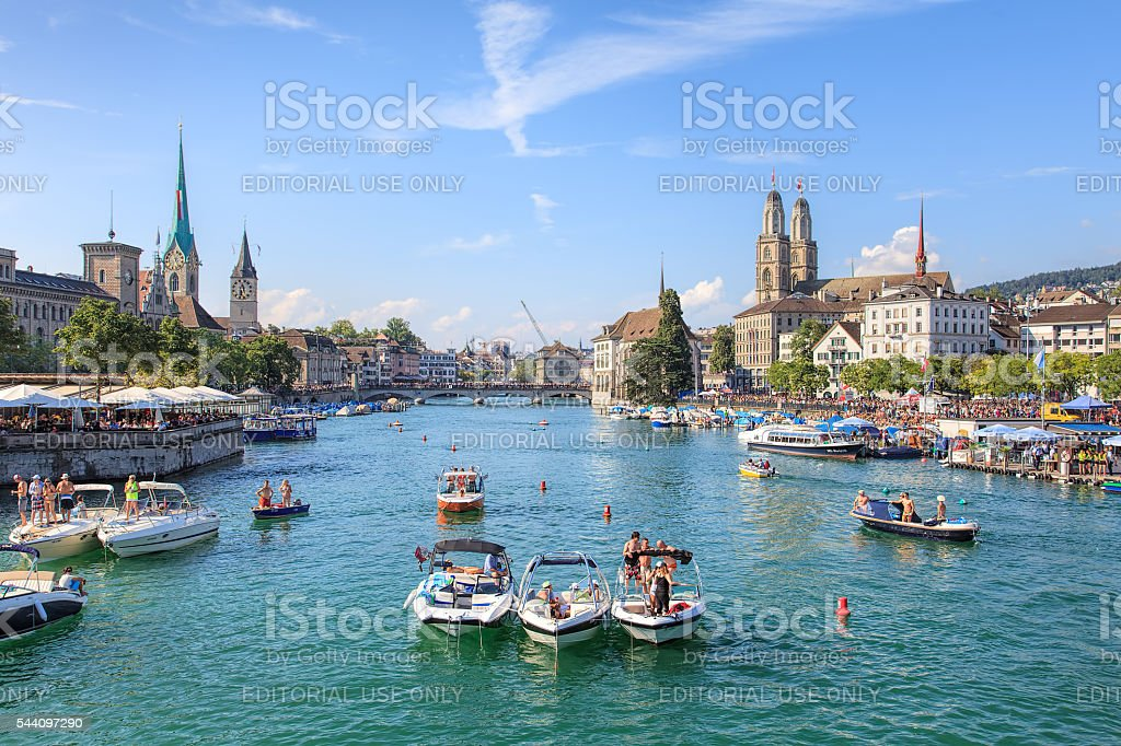 View along the Limmat river during the Street Parade in Zurich stock photo