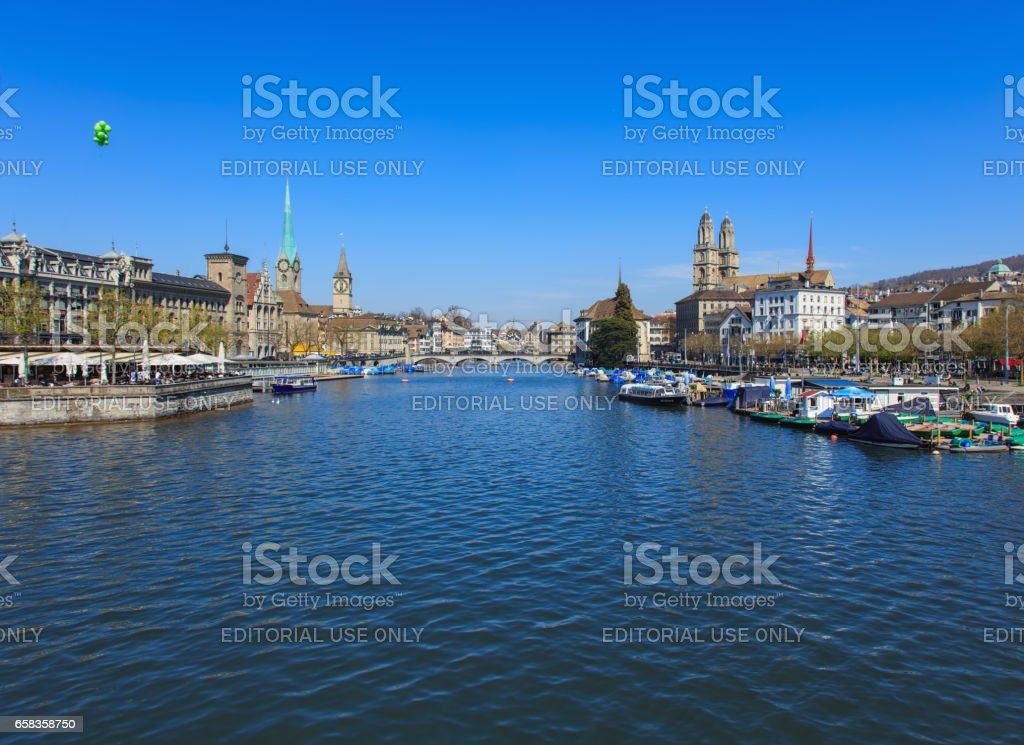 View along the Limmat river in the city of Zurich, Switzerland stock photo