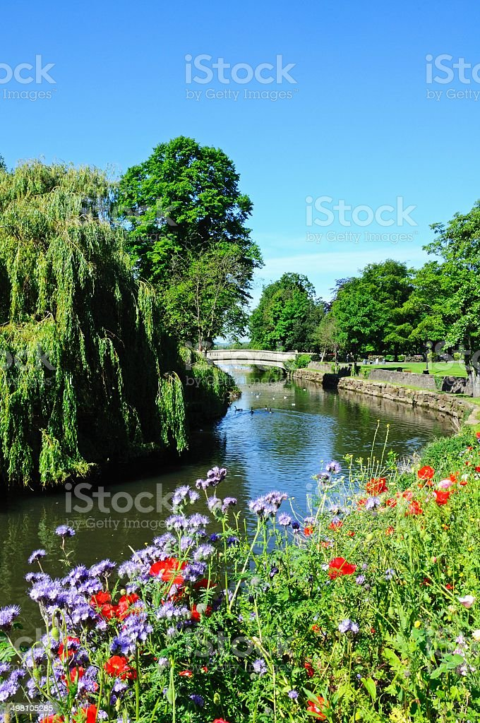 View along the River Anker, Tamworth. stock photo