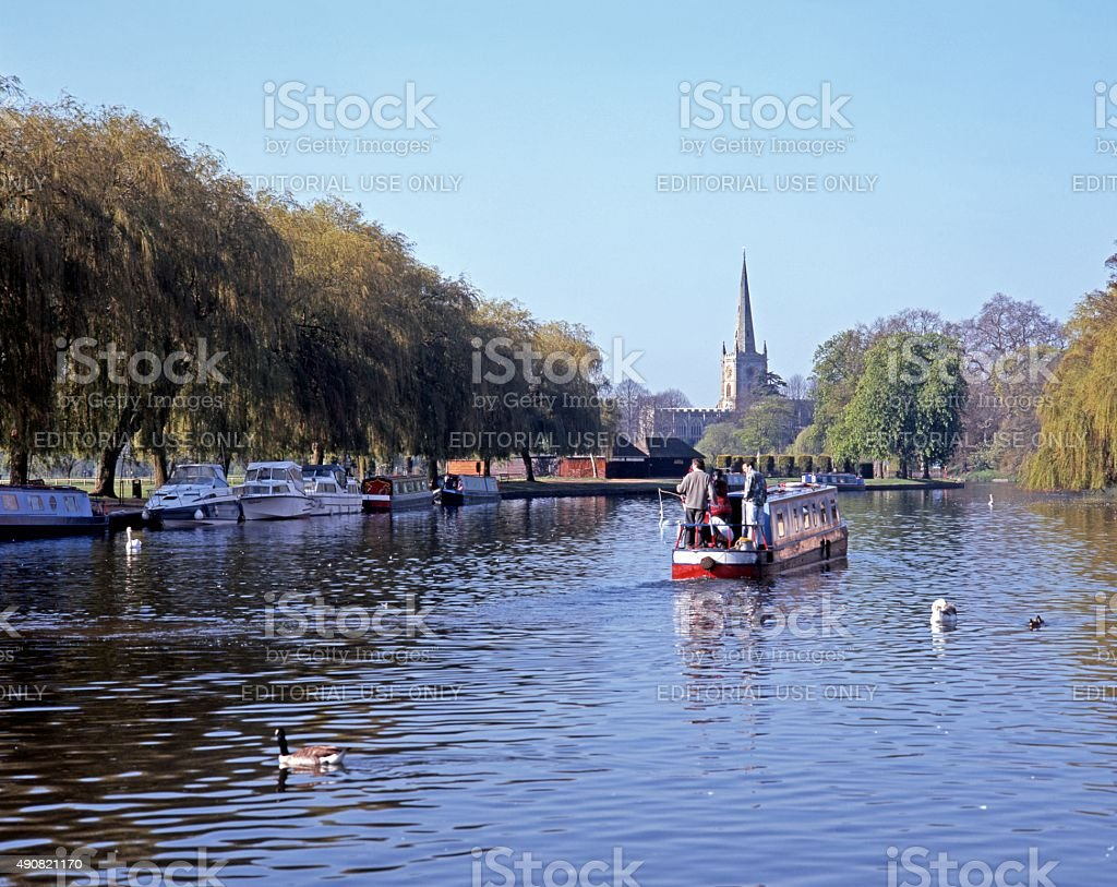 View along the river, Stratford-upon-Avon. stock photo