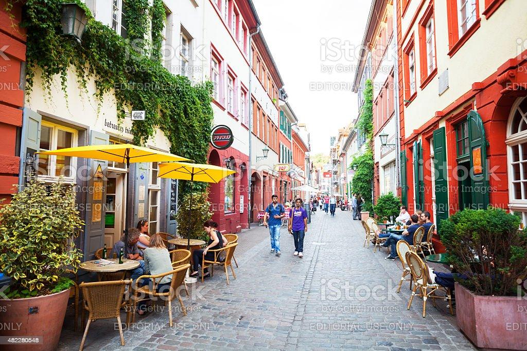 View along Untere Sra?e in Heidelberg at summer evening stock photo