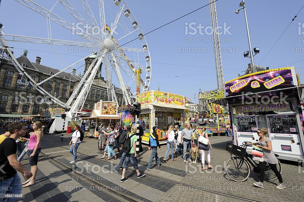View at a carnival on Dam Square, Amsterdam royalty-free stock photo