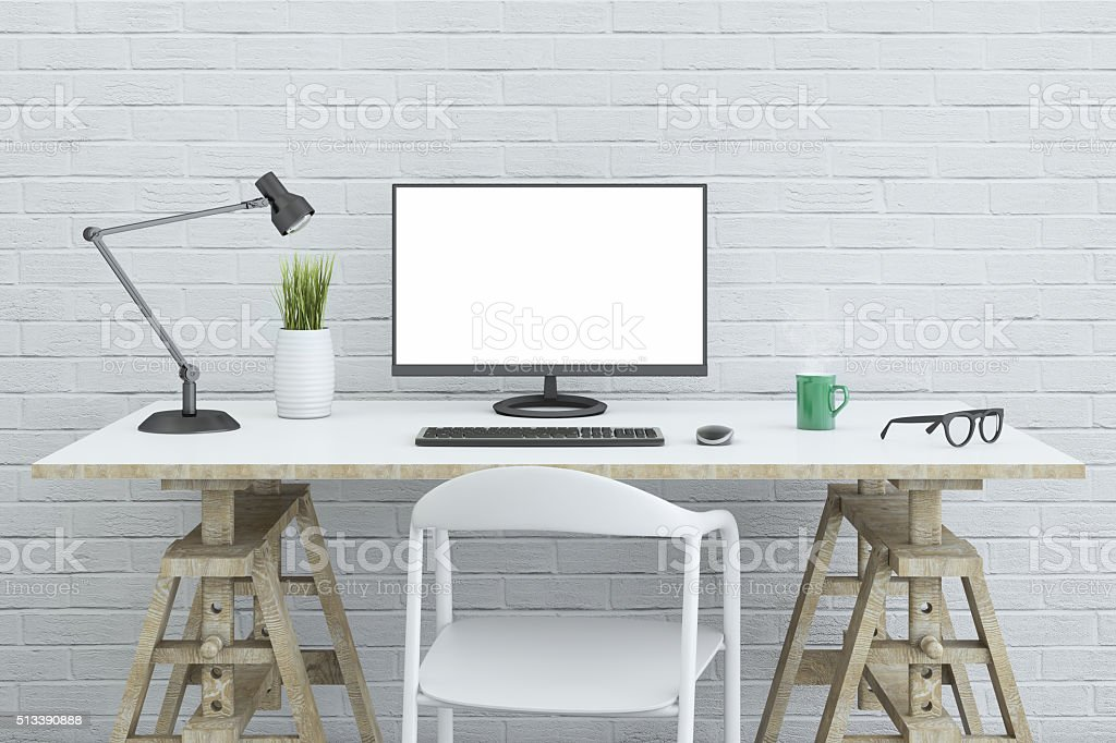 View at a large PC monitor on a desk stock photo