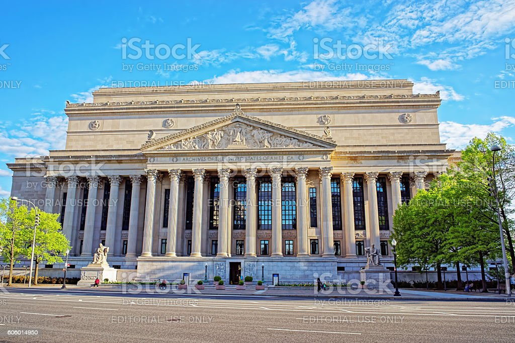 View at a National Archives Building in Washington DC stock photo