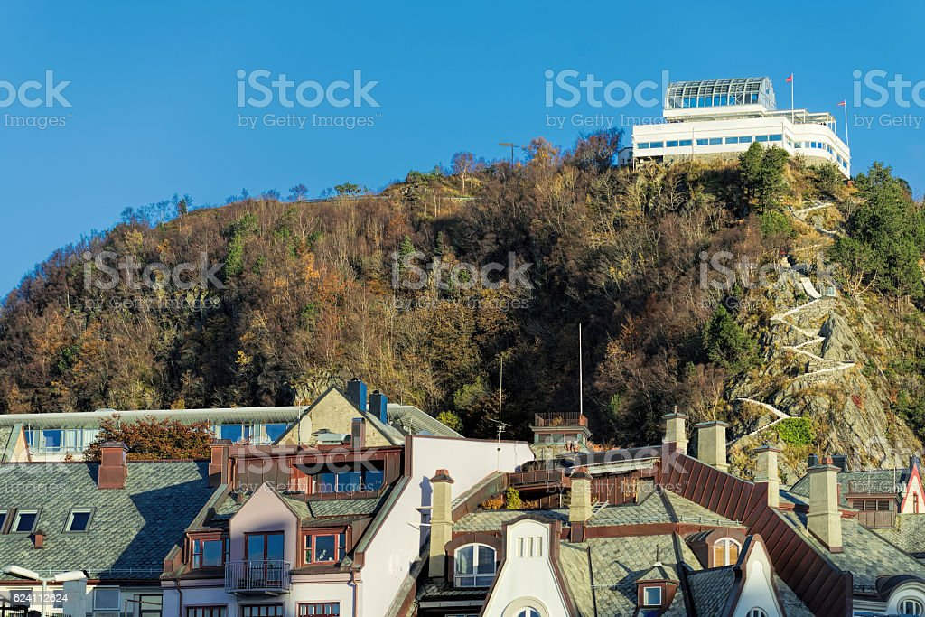 View at aksla hill and Fjellstua in Alesund, Norway stock photo