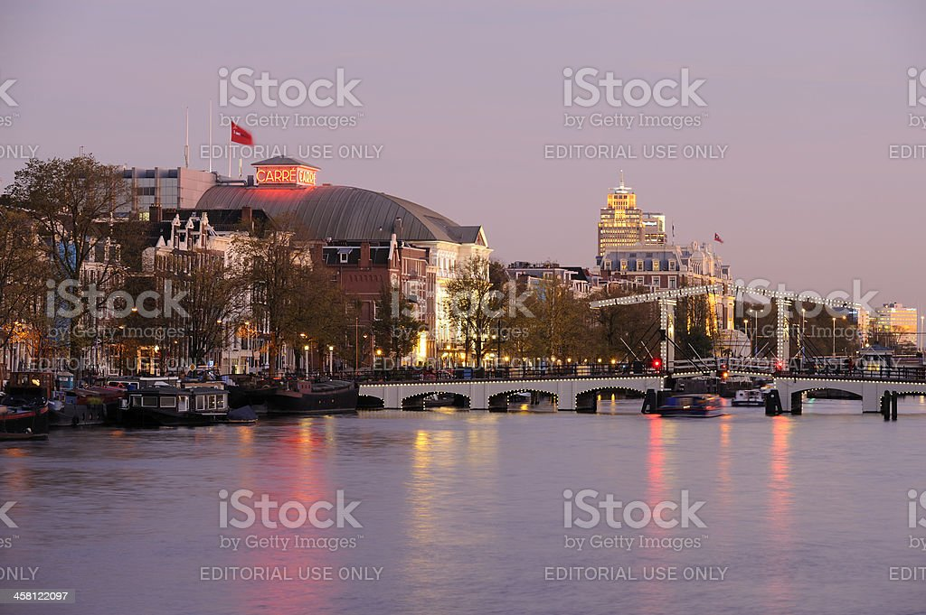 View at Amstel River with the Skinny Bridge during sunset royalty-free stock photo