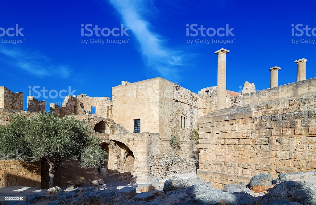 View at ancient Greek remains Lindos acropolis. Rhodes island, Greece. stock photo