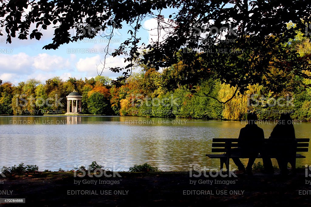 View at Apollo's Temple in the Park of Castle Nymphenburg stock photo