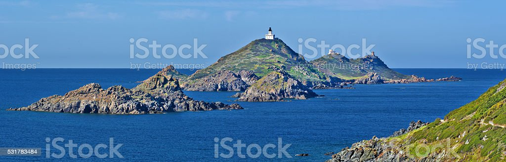 View at Archipelago Sanguinaires from Parata peninsula stock photo