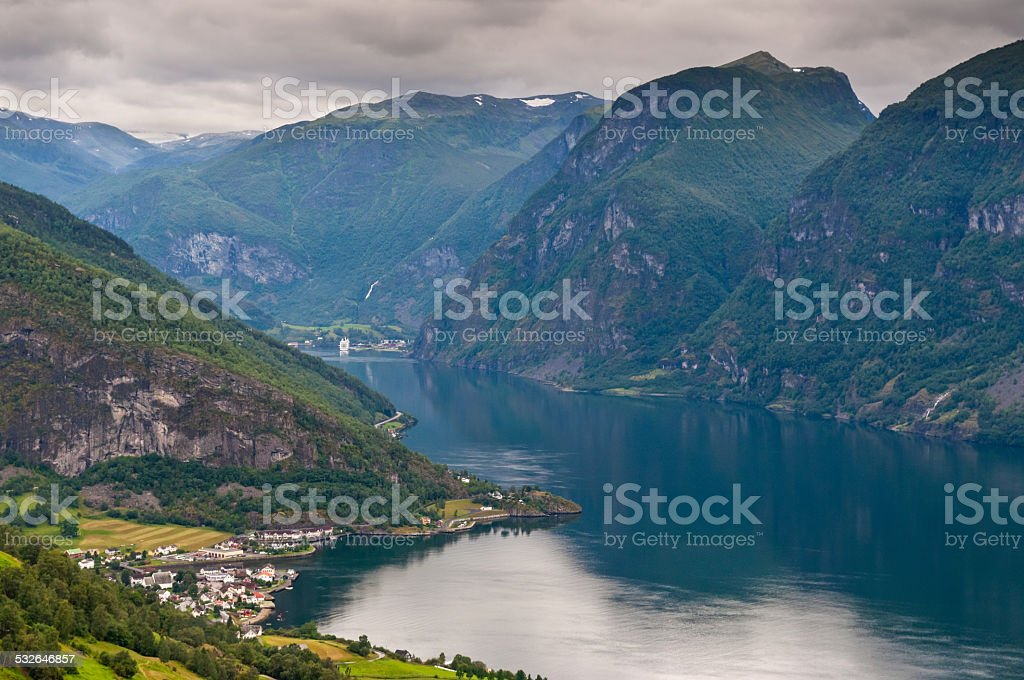 View at Aurland and Aurlandfjord - pictures of Norway stock photo