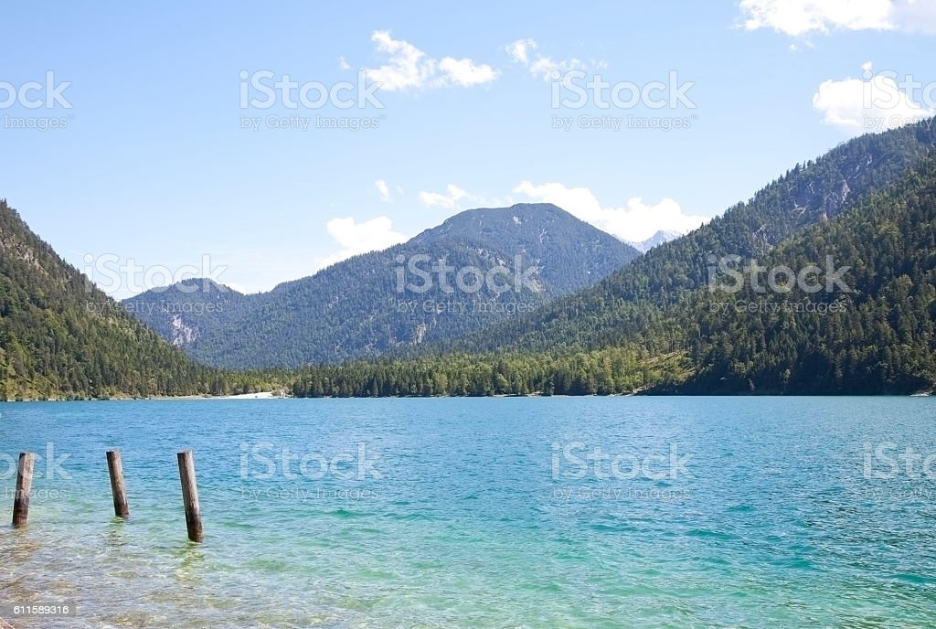 View at beautiful lake Heiterwangersee in Tirol, Austria, Europe stock photo