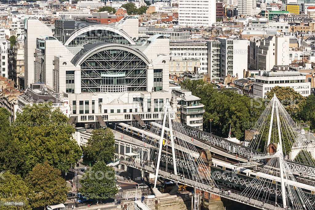 View at Charing Cross Railway Station from London Eye stock photo