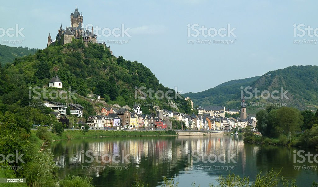 View at Cochem and river Moselle in Germany stock photo