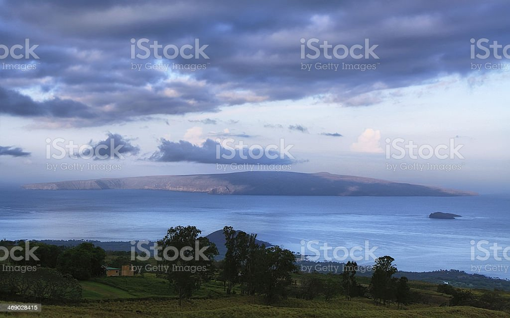 View at dawn of the islands Kahoolawe and Molokini stock photo