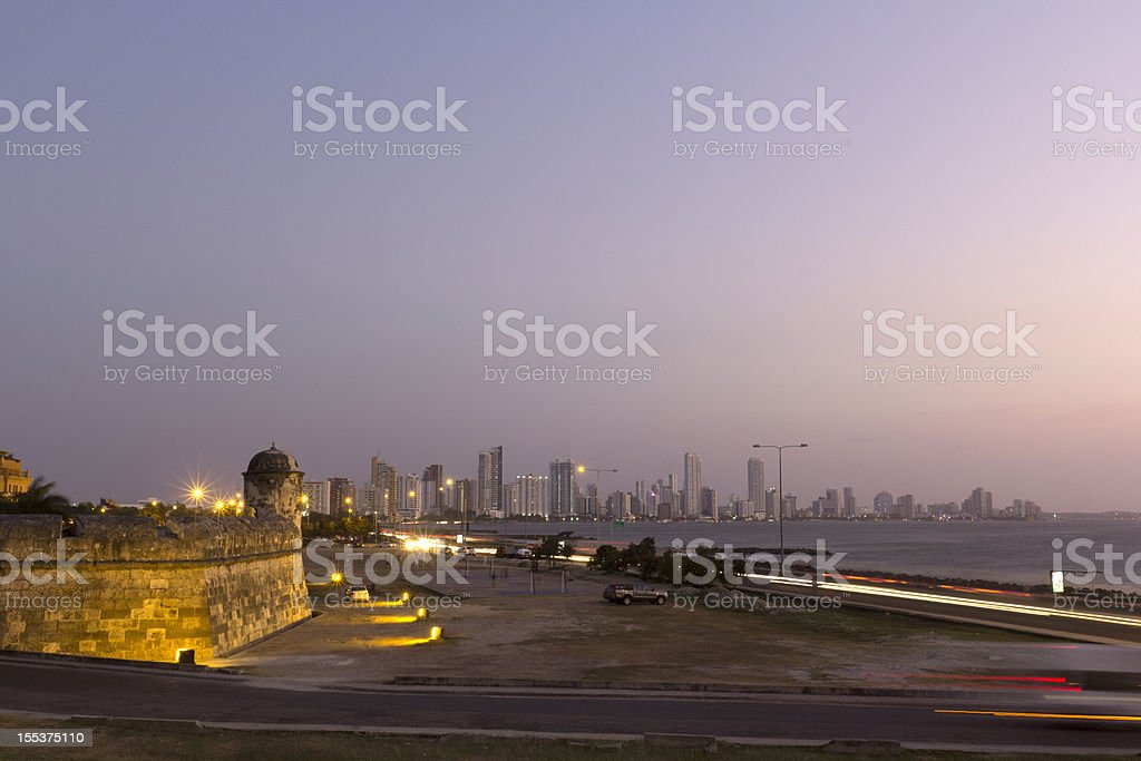 View at Dusk in Cartagena Colombia stock photo