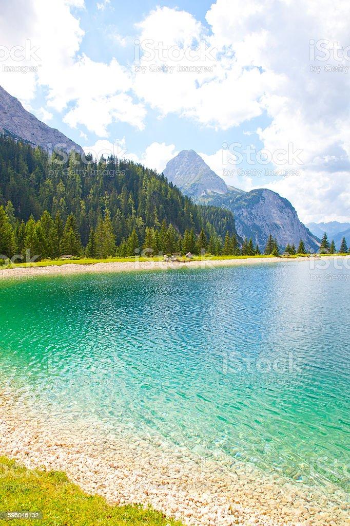 View at Ehrwalder Almsee with mountain landscape, Tirol, Austria stock photo