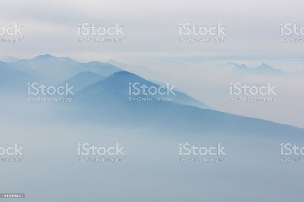 view at foggy mountains stock photo