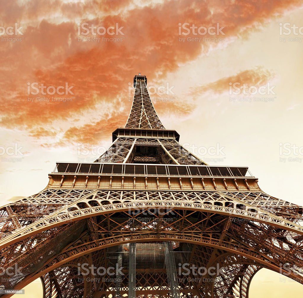 View at foot of Eiffel Tower. Evening.Paris. stock photo