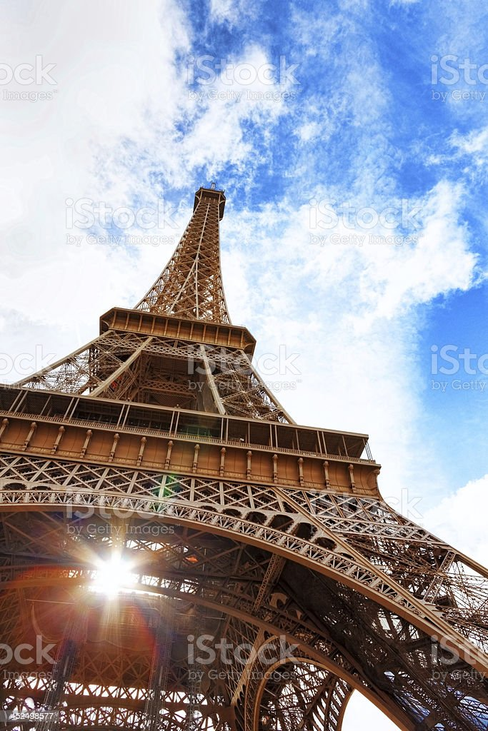 View at foot of Eiffel Tower.Paris,France stock photo