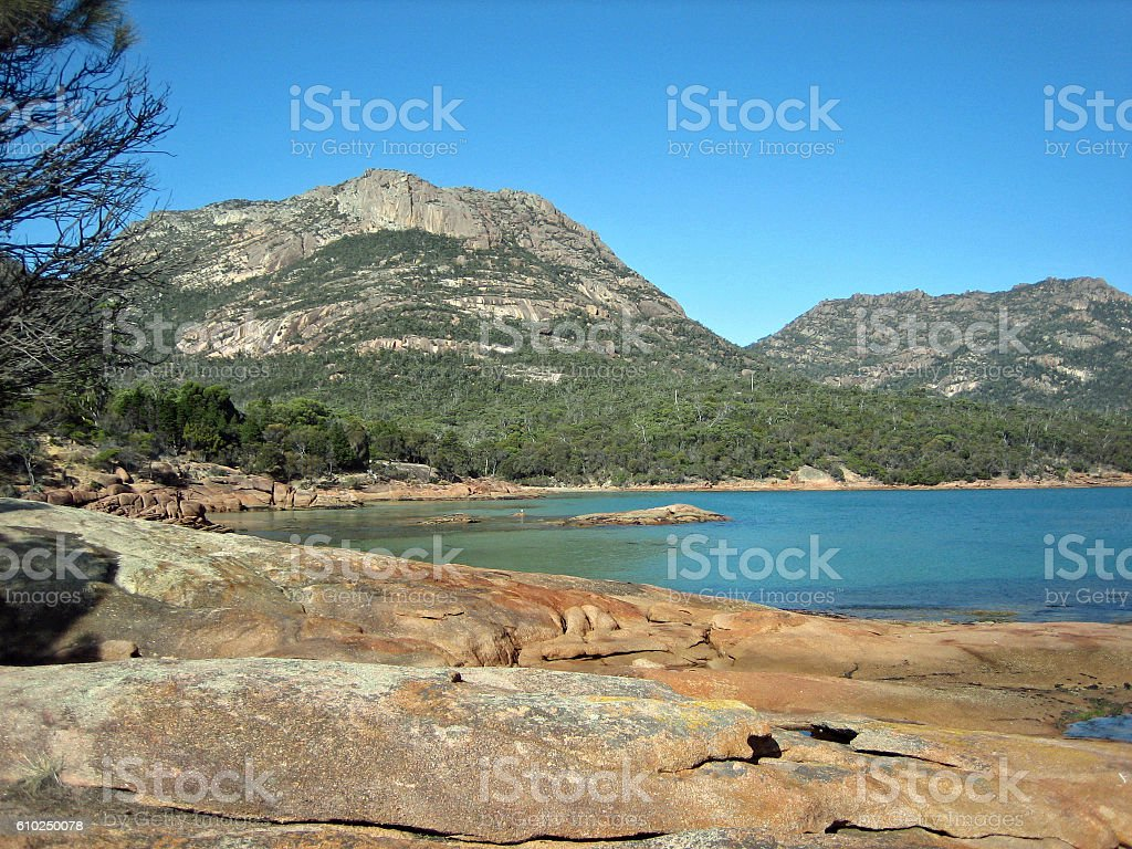 View at Freycinet National Park stock photo