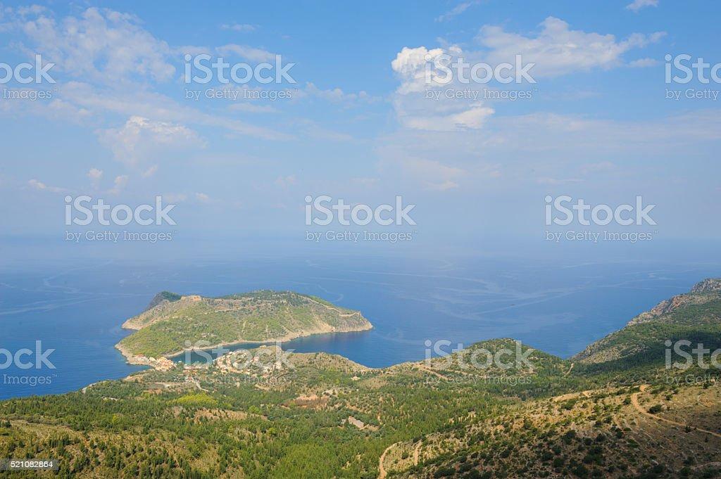 View at Frourio on Kefalonia stock photo