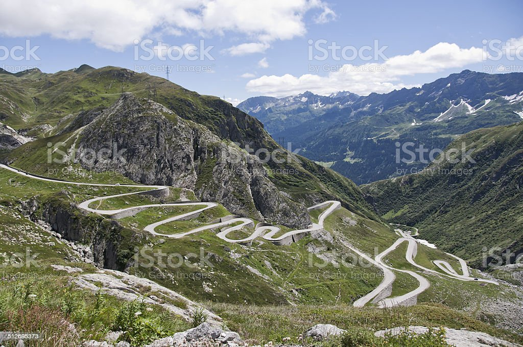 View at Gotthard High Mountain Pass, Switzerland stock photo