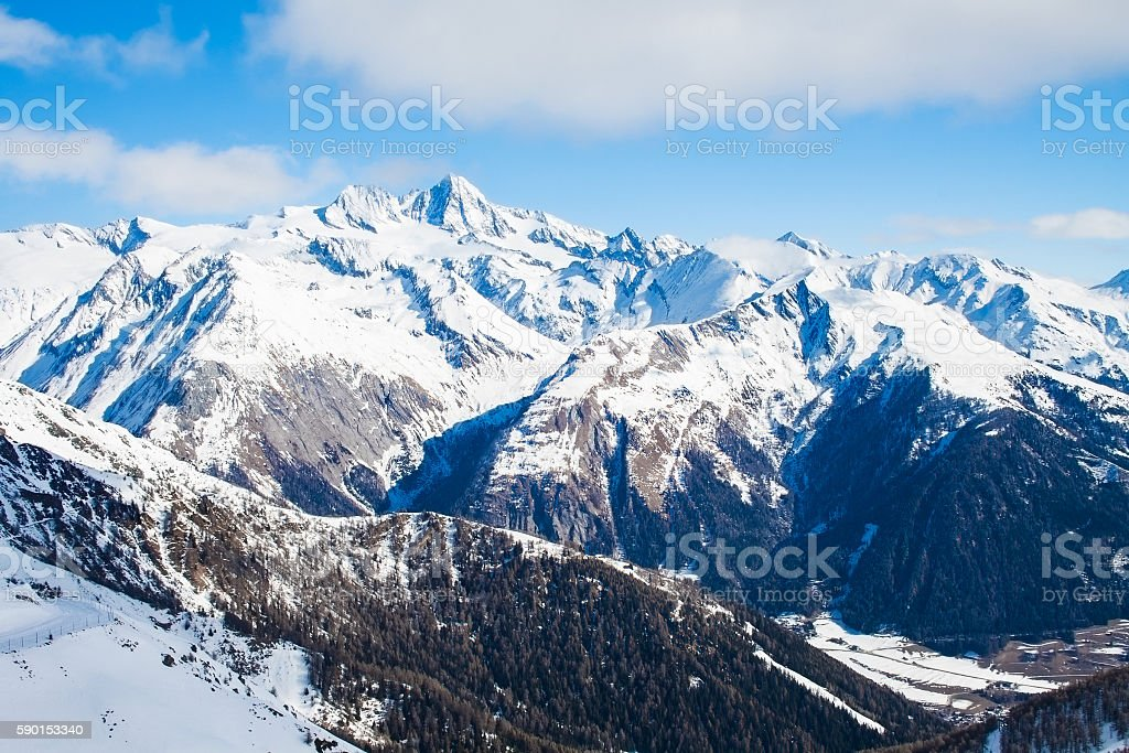 View at Grossglockner peak from ski resort Kals-Matrei, Austria. stock photo