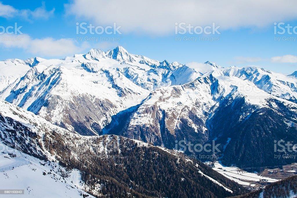 View at Grossglockner peak from ski resort Kals-Matrei, Austria. stock photo