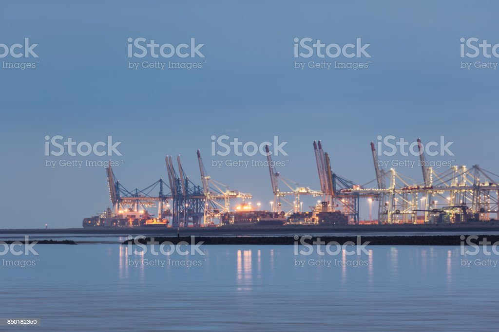 View at Harbor Le Havre along river Seine, France stock photo