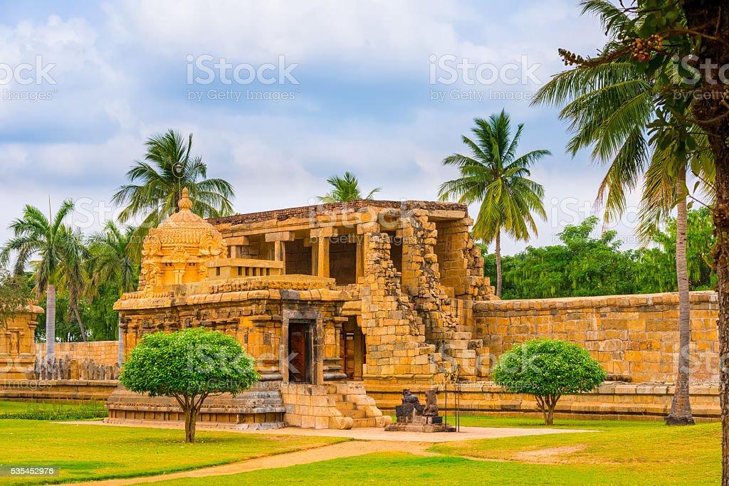 view at Hindu Temple dedicated to Shiva, ancient Gangaikonda stock photo