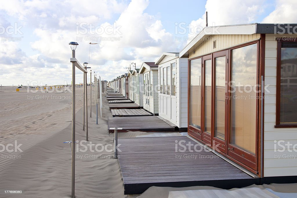 View at houses on beach in IJmuiden, The Netherlands royalty-free stock photo