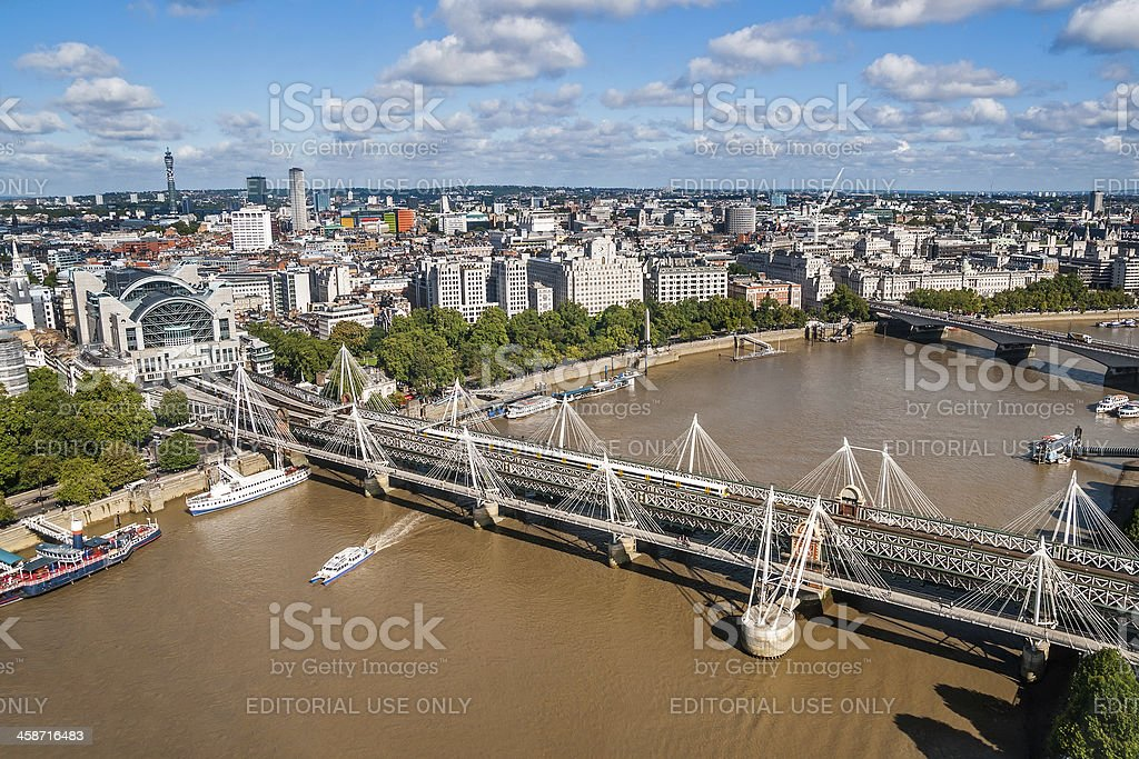 View at Hungerford bridge from London Eye stock photo