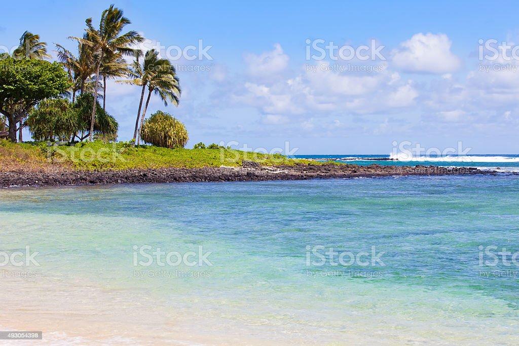 view at kauai beach stock photo