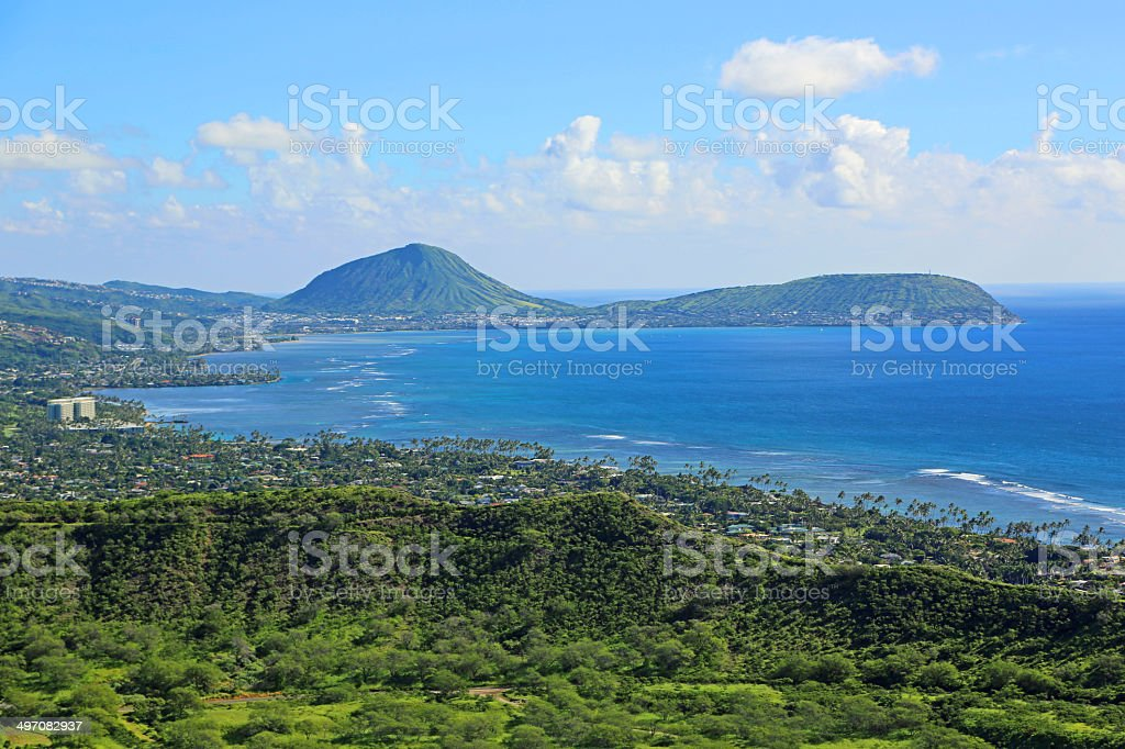 View at Koko Crater from Diamond Head stock photo