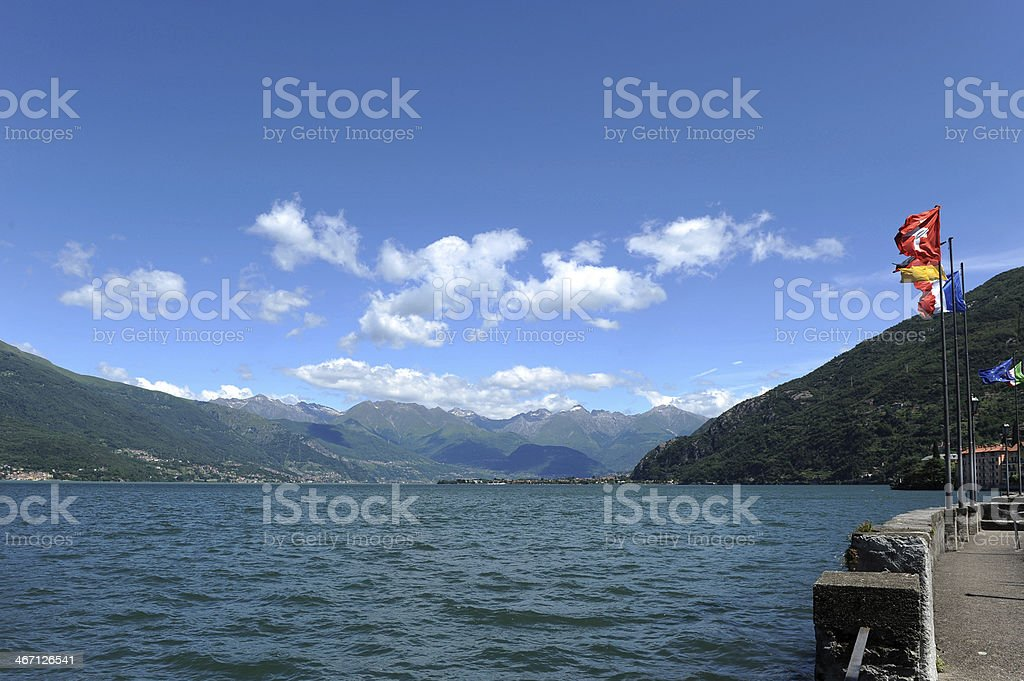 View at Lake Como from old harbor of Bellano stock photo