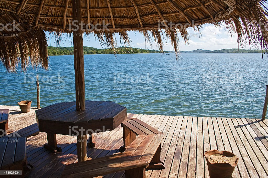 View at Lake Nhambavale, Mozambique stock photo