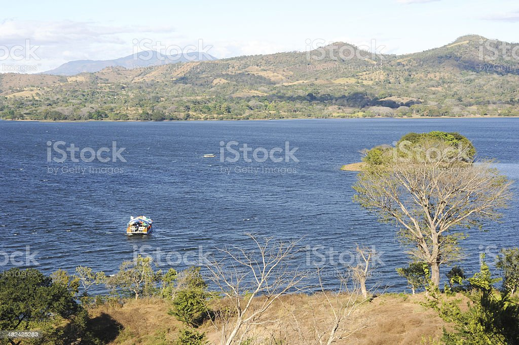 View at lake Suchitlan near Suchitoto stock photo