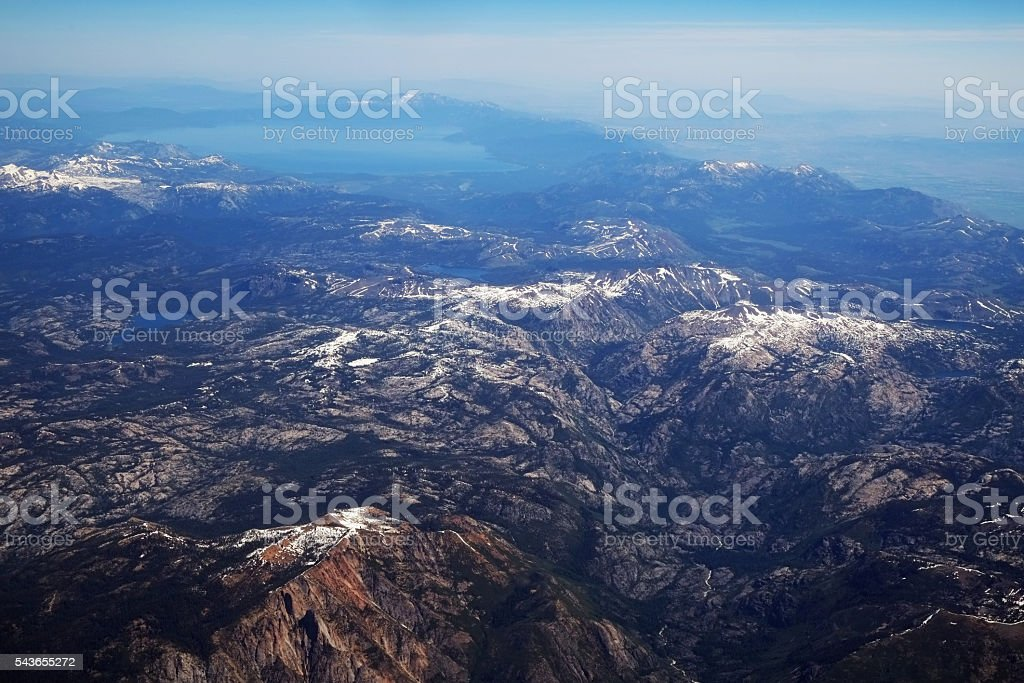 View at Lake Tahoe and Snow Capped Sierra Nevada stock photo