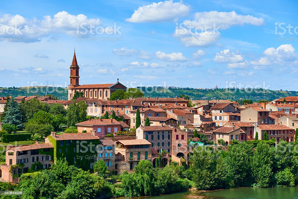 View at Le Tarn river in French city Albi stock photo