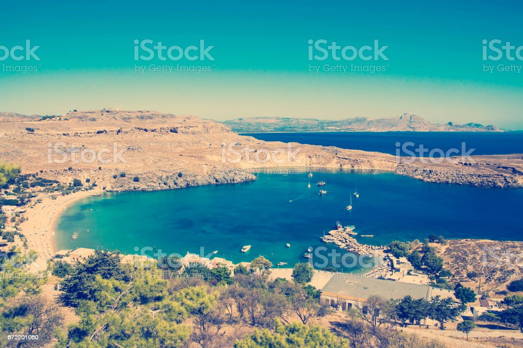 View at Lindou Bay from Lindos stock photo