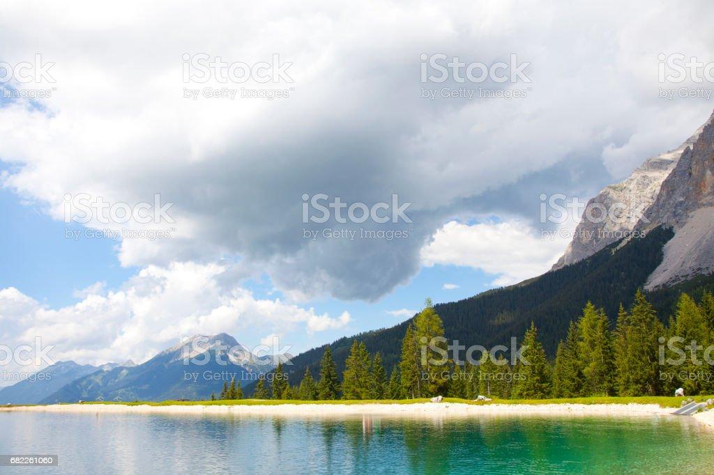 View at little lake near Ehrwald, Tirol, Austria stock photo
