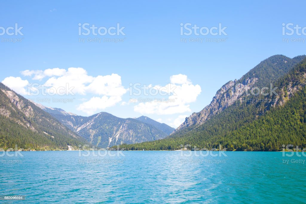 View at little lake Plansee, Tirol, Austria stock photo