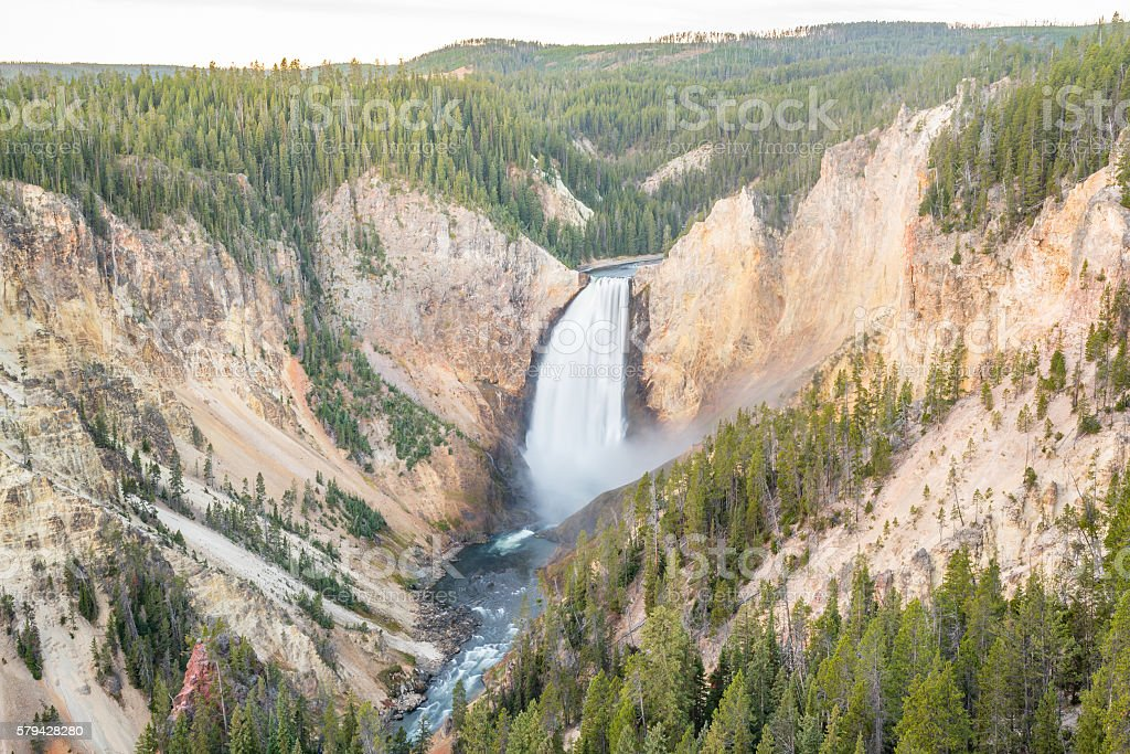 View at Lower Falls in Yellowstone Grand Canyon stock photo