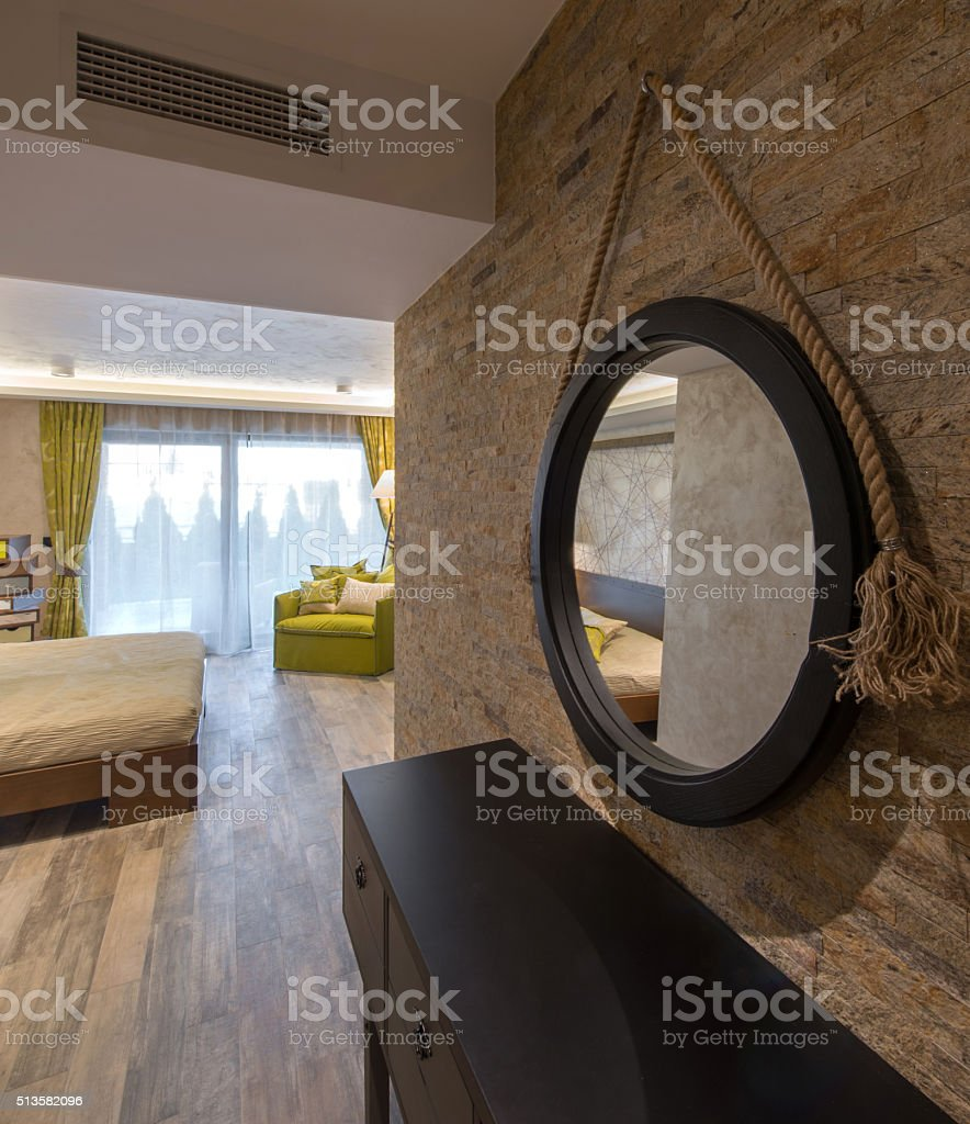 View at modern hotel bedroom from anteroom stock photo