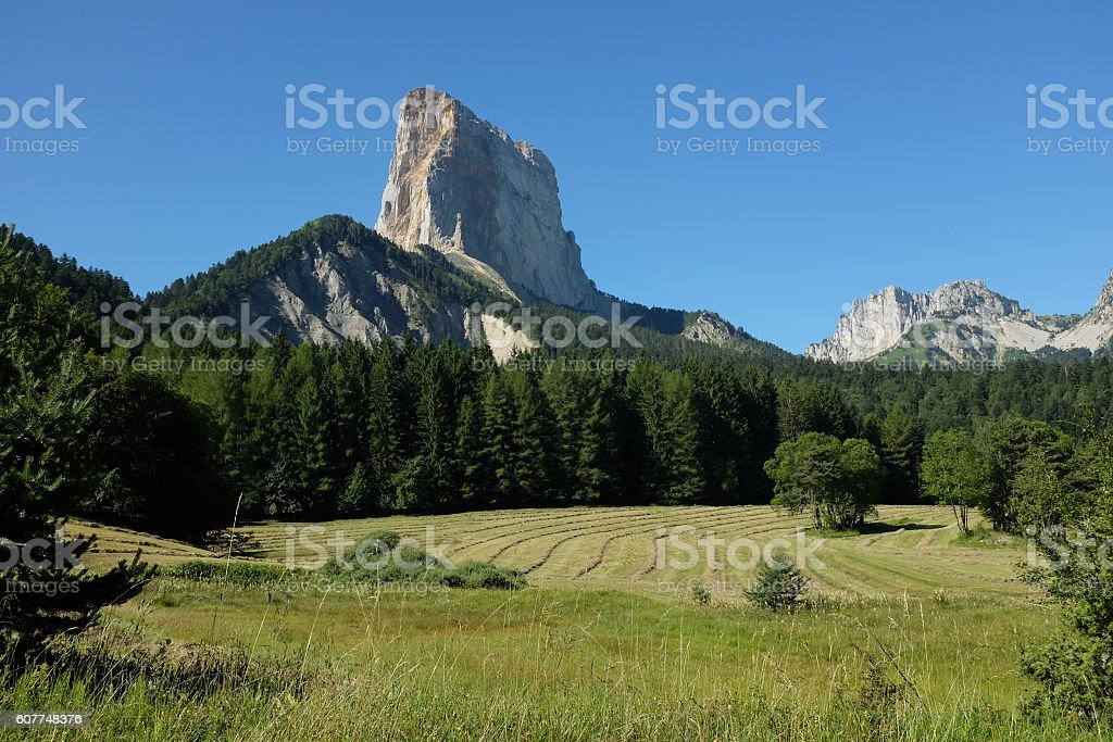 View at Mont Aiguille in the French Alps stock photo